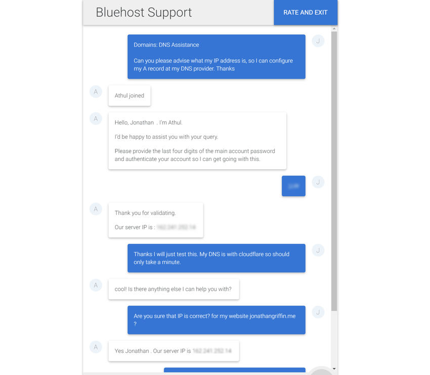 Bluehost support chat