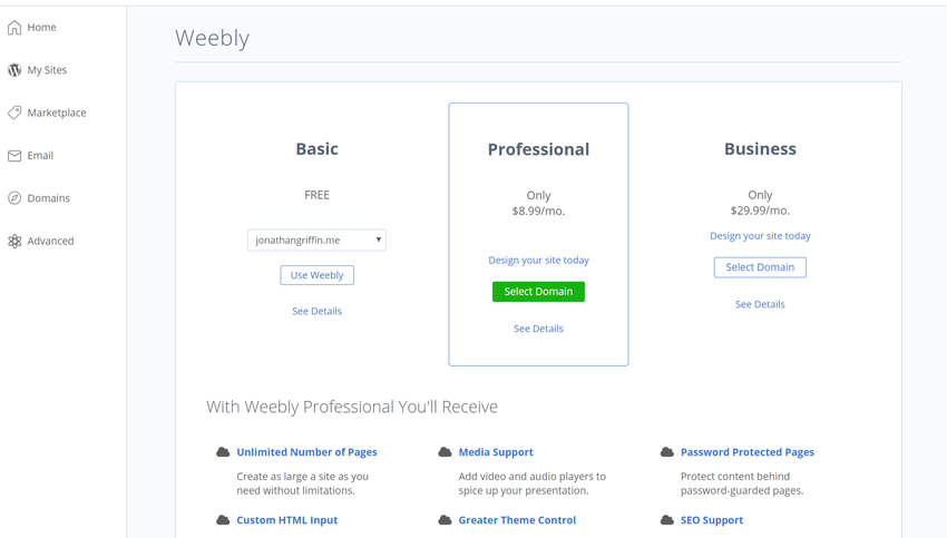 Install Weebly at BlueHost